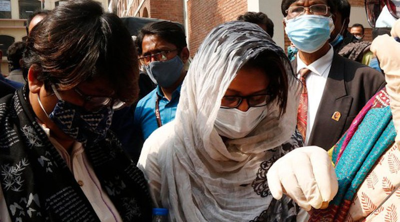 Slain publisher Faisal Arefin Dipan's wife, Razia Rahman Jolly, leaves the courtroom after an anti-terrorism tribunal sentenced eight members of the banned militant group Ansar al-Islam to death for killing her husband, Dhaka, Feb. 10, 2021. [BenarNews]