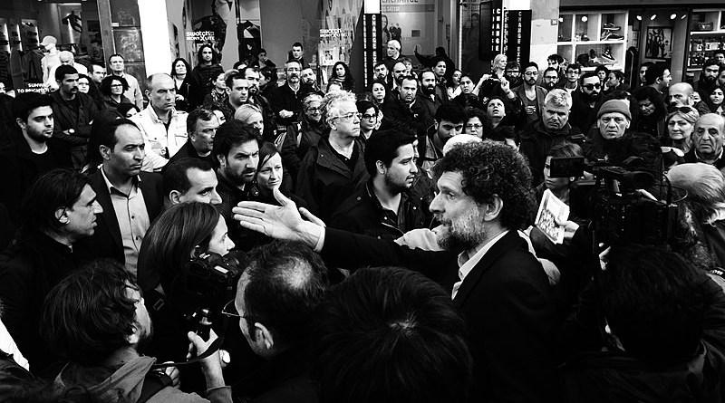 Osman Kavala at the Armenian Genocide centennial commemoration near Taksim Square, Istanbul (Photo: Rupen Janbazian, 2015), Wikipedia Commons