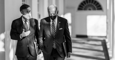 President Joe Biden walks with National Security Adviser Jake Sullivan along the Colonnade of the White House to the Oval Office of the White House. (Official White House Photo by Adam Schultz)