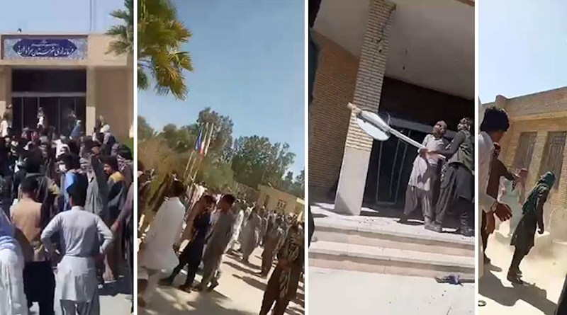 Baluch locals attack Saravan Governor's Office in Iran. Photo Credit: Iran News Wire