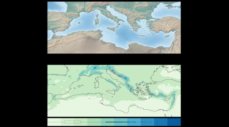 (a) Orography of studied area, (b) Intensity of extreme daily precipitation across the domain. CREDIT Mastrantonas et al, 2020