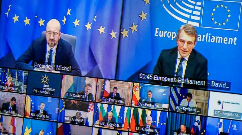 President of the European Parliament David Sassoli (right) during the summit. Photo Credit: European Parliament