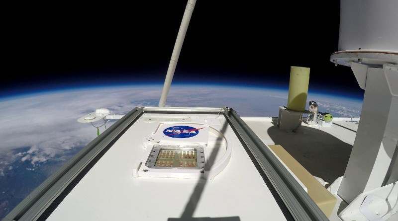 MARSBOx payload in the Earth's middle stratosphere (38 km altitude). The shutter is open exposing the top layer samples to UV radiation. CREDIT NASA