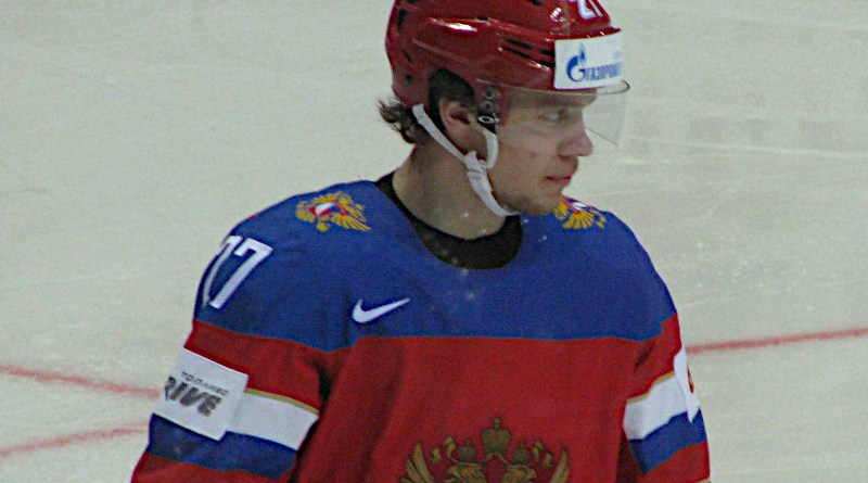 Artemi Panarin as a player of Russia national ice hockey team. Photo Credit: Сидик из ПТУ, Wikipedia Commons