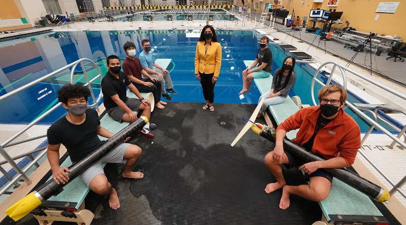 Nina Mahmoudian (center) and her students have developed an underwater glider that can operate silently and in confined spaces, ideal for conducting biology or climate studies without disturbing wildlife. CREDIT Purdue University/Jared Pike