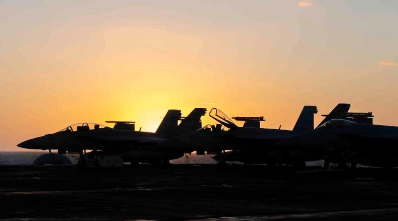 The aircraft carrier USS Nimitz patrols the Arabian Sea. Photo Credit: Navy Seaman Bryant Lang