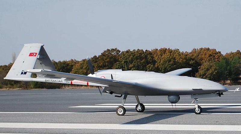 File photo of one of Turkey's Bayraktar TB2 drones on a runway. Photo Credit: Bayhaluk, Wikipedia Commons