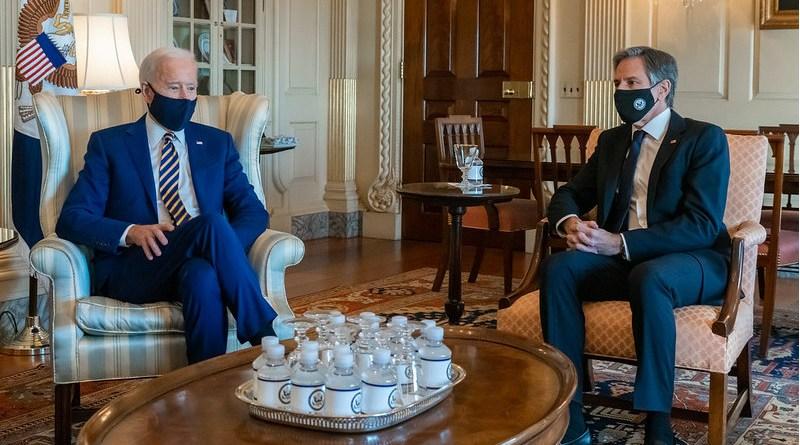 Secretary of State Antony J. Blinken meets with President Joseph R. Biden, Jr. [State Department Photo by Ron Przysucha/ Public Domain]