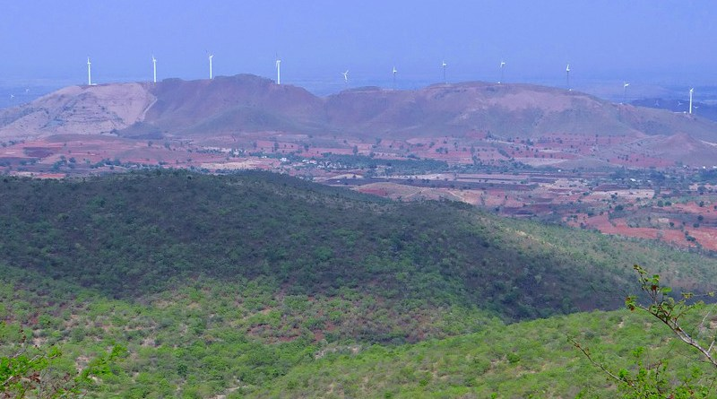 Wind turbines in Chitradurga hills, India.