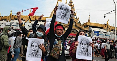 Protestors in Myanmar. Photo Credit: Fars News Agency