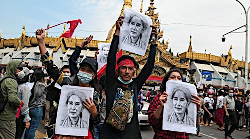 Protestors in Myanmar. Photo Credit: Fars News Agency