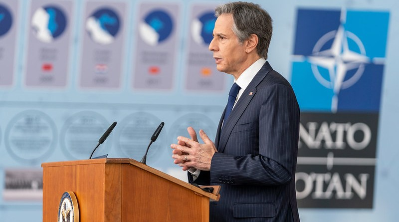 """Secretary of State Antony J. Blinken delivers a speech on """"Reaffirming and Reimagining America's Alliances"""" in Brussels, Belgium on March 24, 2021. [State Department photo by Ron Przysucha/ Public Domain]"""