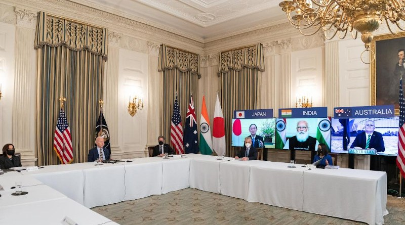 Leaders of the Quad, or the Quadrilateral Security Dialogue, comprising Australia, India, Japan and U.S., held their first summit via video-conferencing, February 12, 2021. Photo Credit: White House