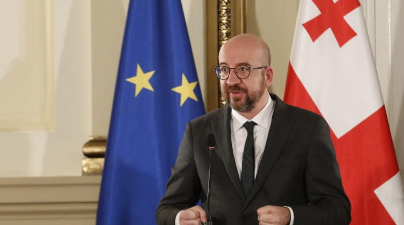 Charles Michel, the president of the European Union Council speaking during a news conference at Georgian president's residence in Tbilisi, Georgia, 01 March 2021. [POOL/GEORGIAN PRESIDENT'S PRESS SERVICE]
