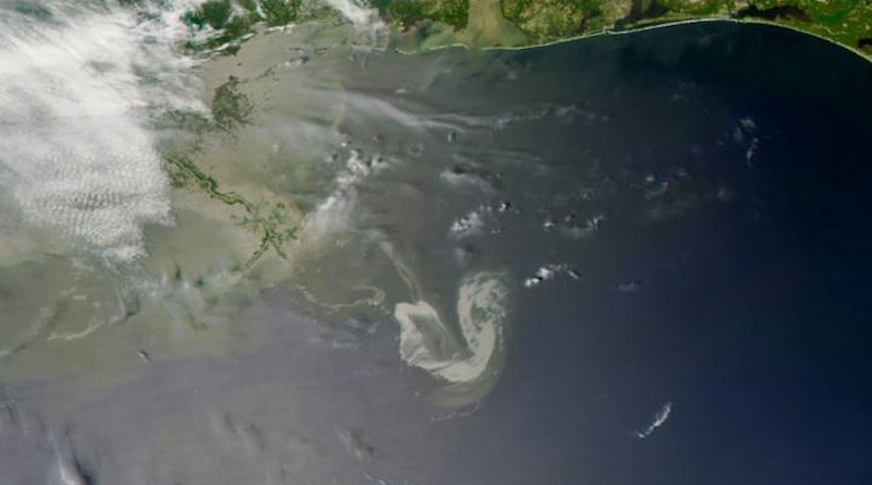 Satellite image taken on May 9, 2010 of the Deepwater Horizon oil spill site in the Gulf of Mexico. CREDIT MODIS on NASA's AQUA satellite, 9 May 2010 @ 190848 UTC. Downlink and processed at the UM Rosenstiel School's Center for Southeastern Tropical Advanced Remote Sensing (CSTARS)