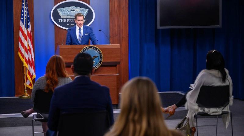 Pentagon Press Secretary John F. Kirby holds a press briefing, the Pentagon, Washington, D.C., March 3, 2021. Photo Credit: Air Force Staff Sgt. Jack Sanders
