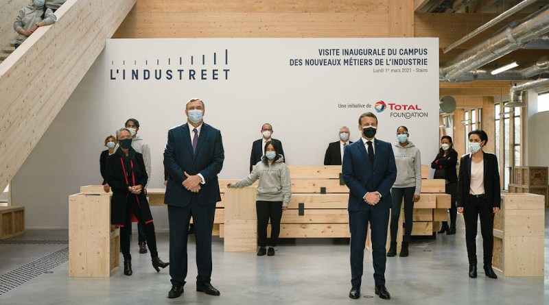 French President Emmanuel Macron officially opens with Patrick Pouyanné, Chairman and Chief Executive Officer of Total, L'Industreet. Photo Credit: Total