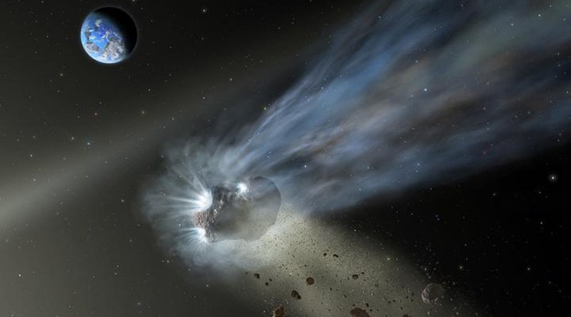 This illustration of a comet from the Oort Cloud as it passes through the inner solar system with dust and gas evaporating into its tail. SOFIA's observations of Comet Catalina reveal that it's carbon-rich, suggesting that comets delivered carbon to the terrestrial planets like Earth and Mars as they formed in the early solar system. CREDIT Credit: NASA/SOFIA/ Lynette Cook.