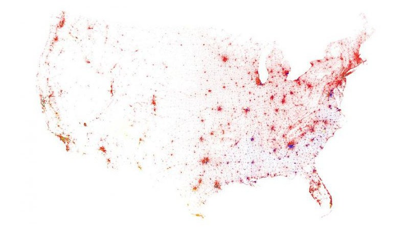 Contiguous United States, Census 2010. One dot for each 500 residents. Red is White, Blue is Black, Green is Asian, Orange is Hispanic, Yellow is Other. CREDIT Eric Fischer, 2011, Flickr
