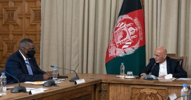 Secretary of Defense Lloyd J. Austin III meets with Afghan President Ashraf Ghani in Kabul, Afghanistan, March 21, 2021. Photo Credit: Lisa Ferdinando, DOD