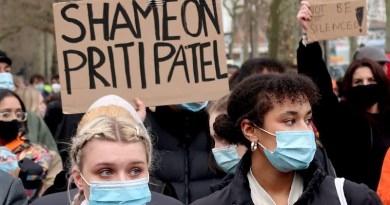 Shame on Priti Patel: a placard at the protest outside New Scotland Yard on March 14, 2021 following the heavy-handed suppression of a peaceful vigil for Sarah Everard on Clapham Common the evening before (Photo: Andy Worthington).