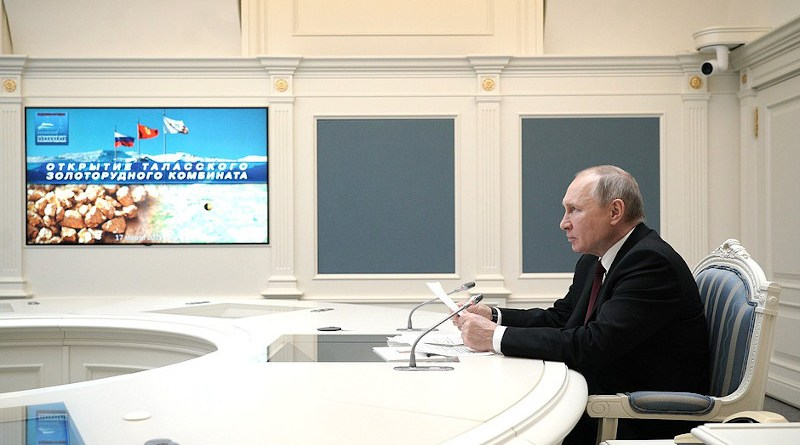 Russia's President Vladimir Putin during the videoconference ceremony to launch Talas Gold Mining Complex at the Jerooy deposit. Photo Credit: Kremlin.ru