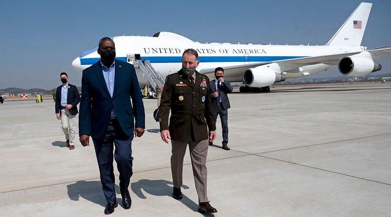 Secretary of Defense Lloyd J. Austin III meets with the commander of U.S Forces Korea, Army Gen. Robert B. Abrams, upon arrival at Osan Air Base, South Korea, March 17, 2021. (DoD photo by Lisa Ferdinando)