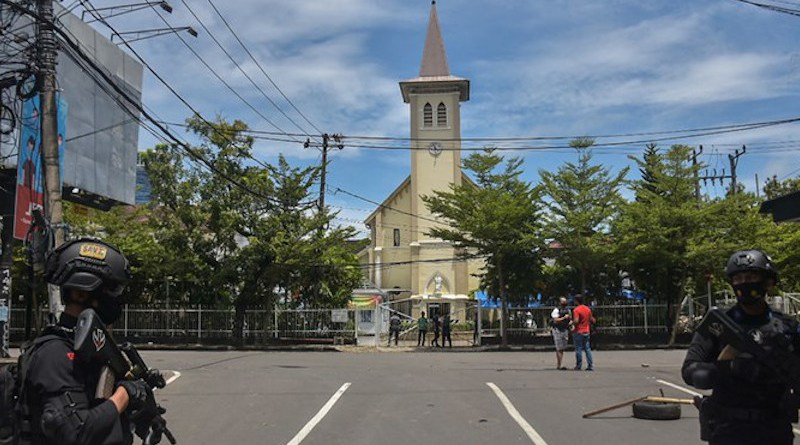 Security personnel patrol on March 28 after suicide bomb attack on the Sacred Heart of Jesus Cathedral in Makassar, capital of Indonesia's South Sulawesi province. Photo Credit: Fars News Agency