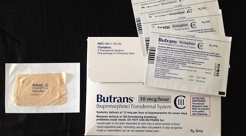 Buprenorphine patches in the pouch with packaging: A removed patch is shown on the left. In Britain, buprenorphine patches are named Butec 5, Butec 10, and so on. Photo Credit: 9ballguy, Wikipedia Commons