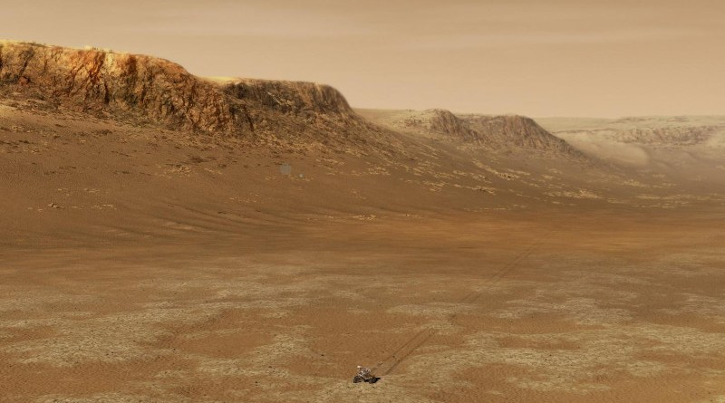 Illustration of NASA's Perseverance rover at work within Mars's Jezero Crater. CREDIT NASA and JPL-Caltech.