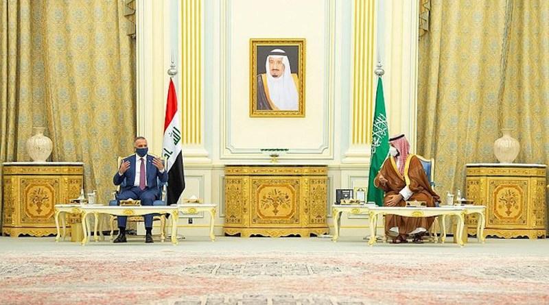 Saudi Arabia's Crown Prince Mohammed bin Salman and Iraqi Prime Minister Mustafa Al-Kadhimi. (SPA)