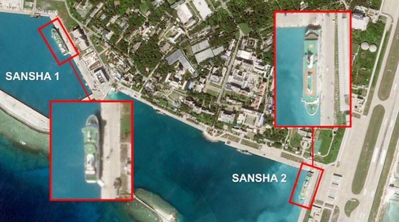 A satellite image from December 2020 showing the Sansha 1 and Sansha 2 docked at Woody Island. [Image: Planet Labs Inc; Analysis: RFA]