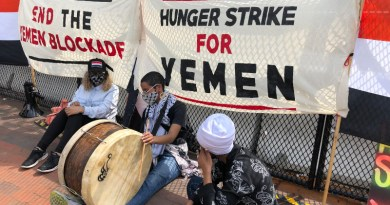 Iman Saleh (with drum) on hunger strike in Washington D.C. to protest the blockade and war against Yemen; seated next to her is Rep. Ilhan Omar. Photo Credit: Code Pink