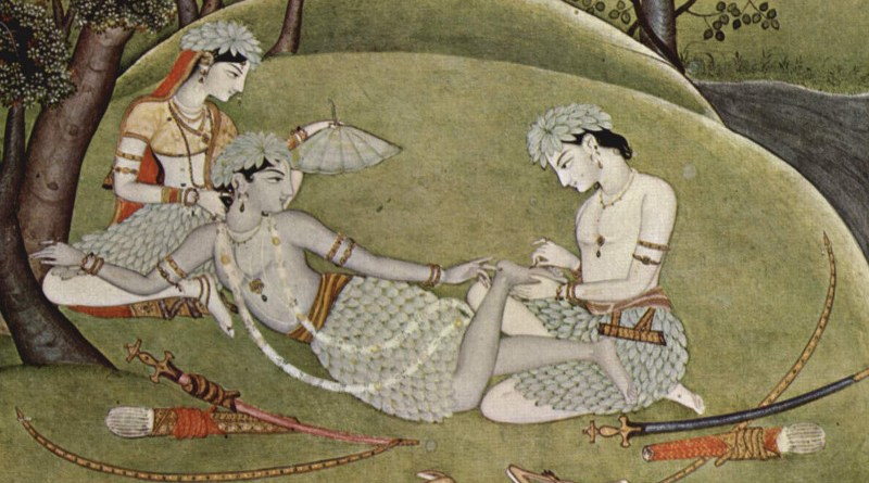 Detail of Rama with his wife Sita and brother Lakshmana during exile in forest, manuscript, ca. 1780 Credit: Rama and Sita in the forest, Indian artist, Wikipedia Commons