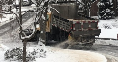 A truck applies salt to a road during winter storm. CREDIT Sujay Kaushal