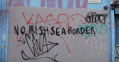 "Graffiti in Belfast opposing an ""Irish Sea border"" (February 2021). Photo Credit: Whiteabbey, Wikipedia Commons"