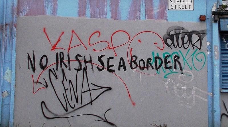 "Graffiti in Belfast opposing an ""Irish Sea border"" (February 2021). Photo Credit: Whiteabbey, Wikipedia Commons"