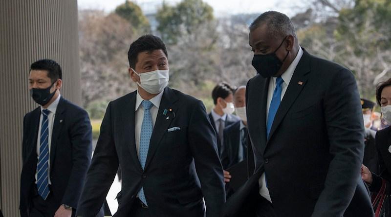 Secretary of Defense Lloyd J. Austin III meets with Japanese Defense Minister Nobuo Kishi, at Japan's Ministry of Defense, Tokyo, March 16, 2021. (DoD photo by Lisa Ferdinando)