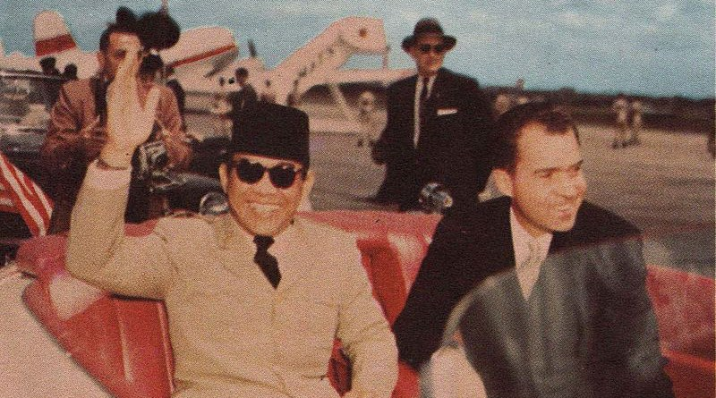 Indonesia's Sukarno and US President Richard Nixon in 1956. Photo Credit: Published by the United States Information Service, Wikipedia Commons
