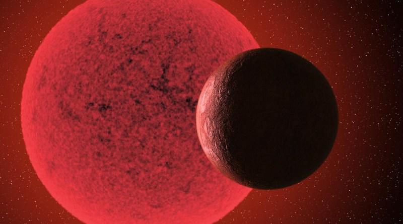 Artistic impression of the super-Earth in orbit round the red dwarf star GJ-740. CREDIT Gabriel Pérez Díaz, SMM (IAC).