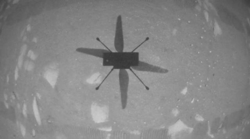 NASA's Ingenuity Mars Helicopter captured this shot as it hovered over the Martian surface on April 19, 2021, during the first instance of powered, controlled flight on another planet. It used its navigation camera, which autonomously tracks the ground during flight. Credits: NASA/JPL-Caltech