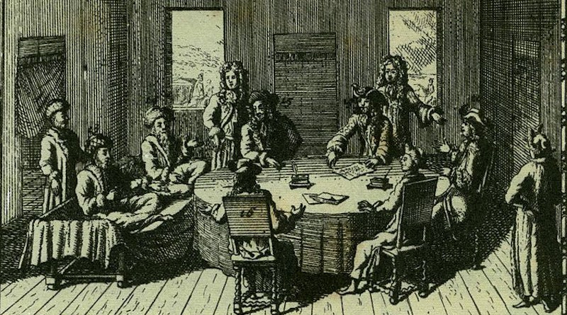 The signing of the Treaty of Karlowitz, which marked the end of the Holy League. Credit: Hungarian National Museum, Budapest, Historic Illustrations Collection, Wikipedia Commons