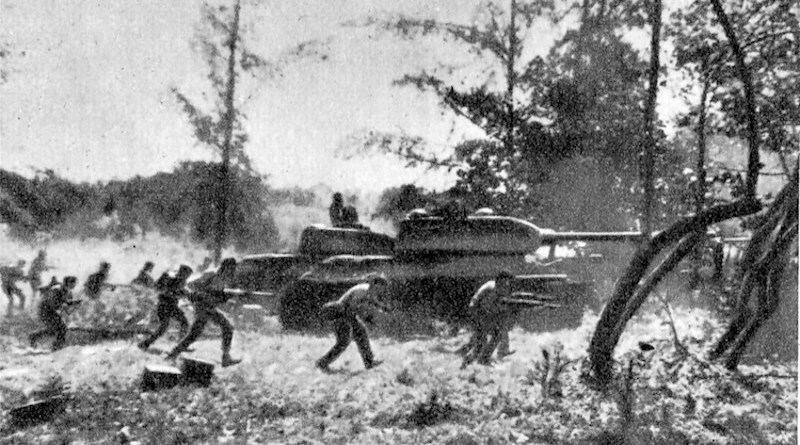 Counter-attack by Cuban Revolutionary Armed Forces supported by T-34 tanks near Playa Giron during the Bay of Pigs invasion, 19 April 1961, by CIA-led Cuban exiles who opposed Fidel Castro's Cuban Revolution. CC BY 3.0.