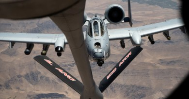 An A-10 Thunderbolt II approaches a KC-135 Stratotanker to refuel over Afghanistan, July 9, 2020. Photo Credit: Air Force Airman 1st Class Duncan C. Bevan