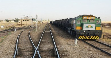 A freight cargo train from Iran passes into Turkmenistan. Photo Credit: Fars News Agency