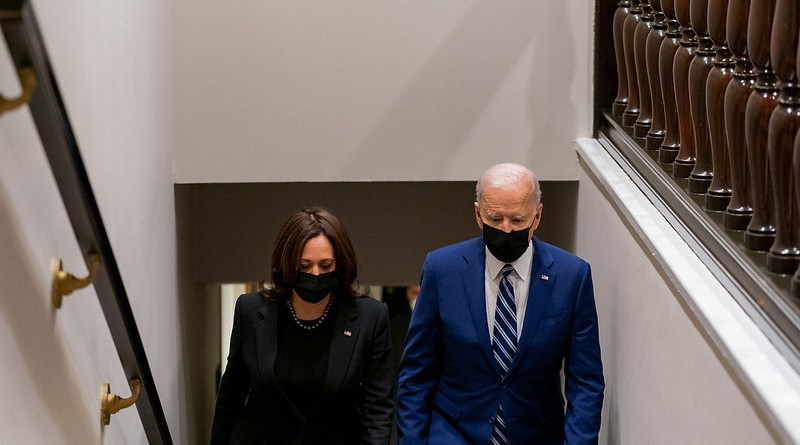 President Joe Biden and Vice President Kamala Harris walk up the stairs in the West Wing of the White House. Official White House Photo by Cameron Smith