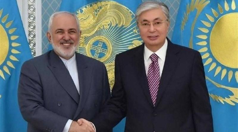 Foreign Minister of Iran Mohammad Javad Zarif with President of Kazakhstan Kassym-Jomart Tokayev. Photo Credit: Tasnim News Agency
