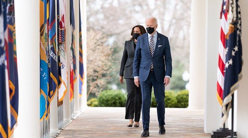 President Joe Biden and Vice President Kamala Harris walk from the Oval Office of the White House. (Official White House Photo by Lawrence Jackson)