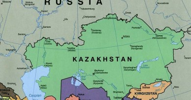 Map of Kazakhstan, with Russia to the north. Credit: CIA, Wikipedia Commons
