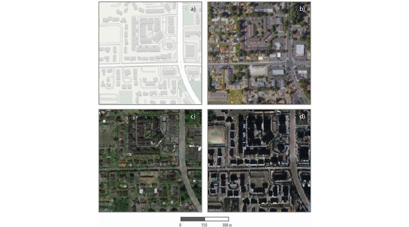 These are maps and satellite images, real and fake, of one Tacoma neighborhood. The top left shows an image from mapping software, and the top right is an actual satellite image of the neighborhood. The bottom two panels are simulated satellite images of the neighborhood, generated from geospatial data of Seattle (lower left) and Beijing (lower right). CREDIT Zhao et al., 2021, Cartography and Geographic Information Science